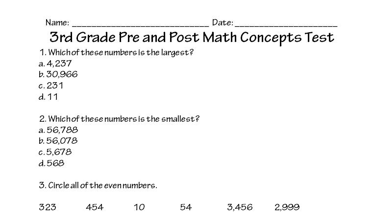 Printable Math Exercises For Grade 3