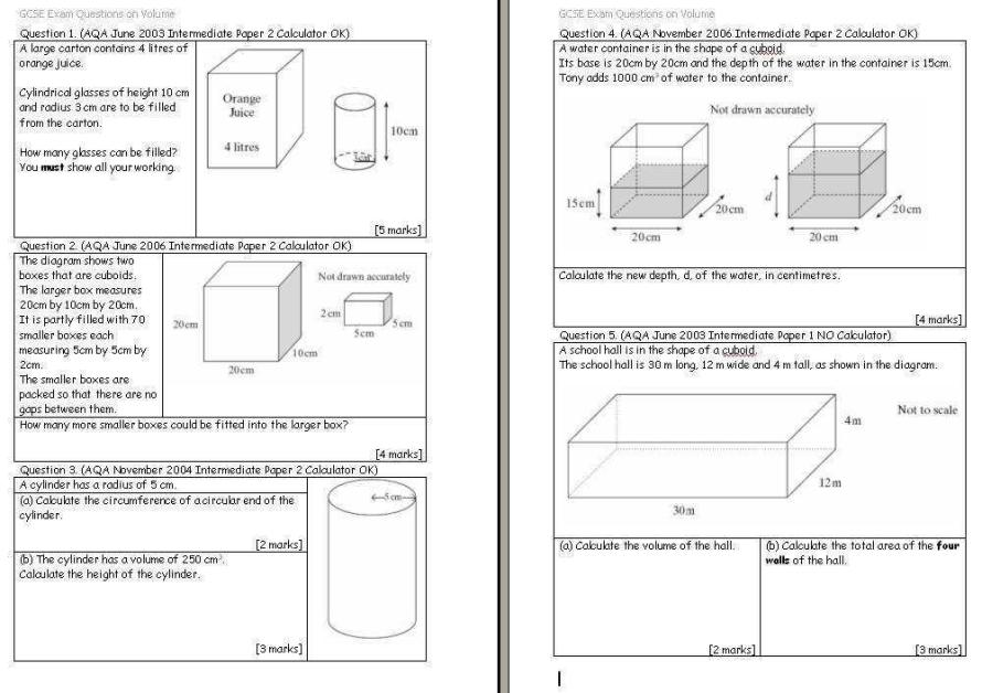 Printable Math Worksheets Volume Cylinder