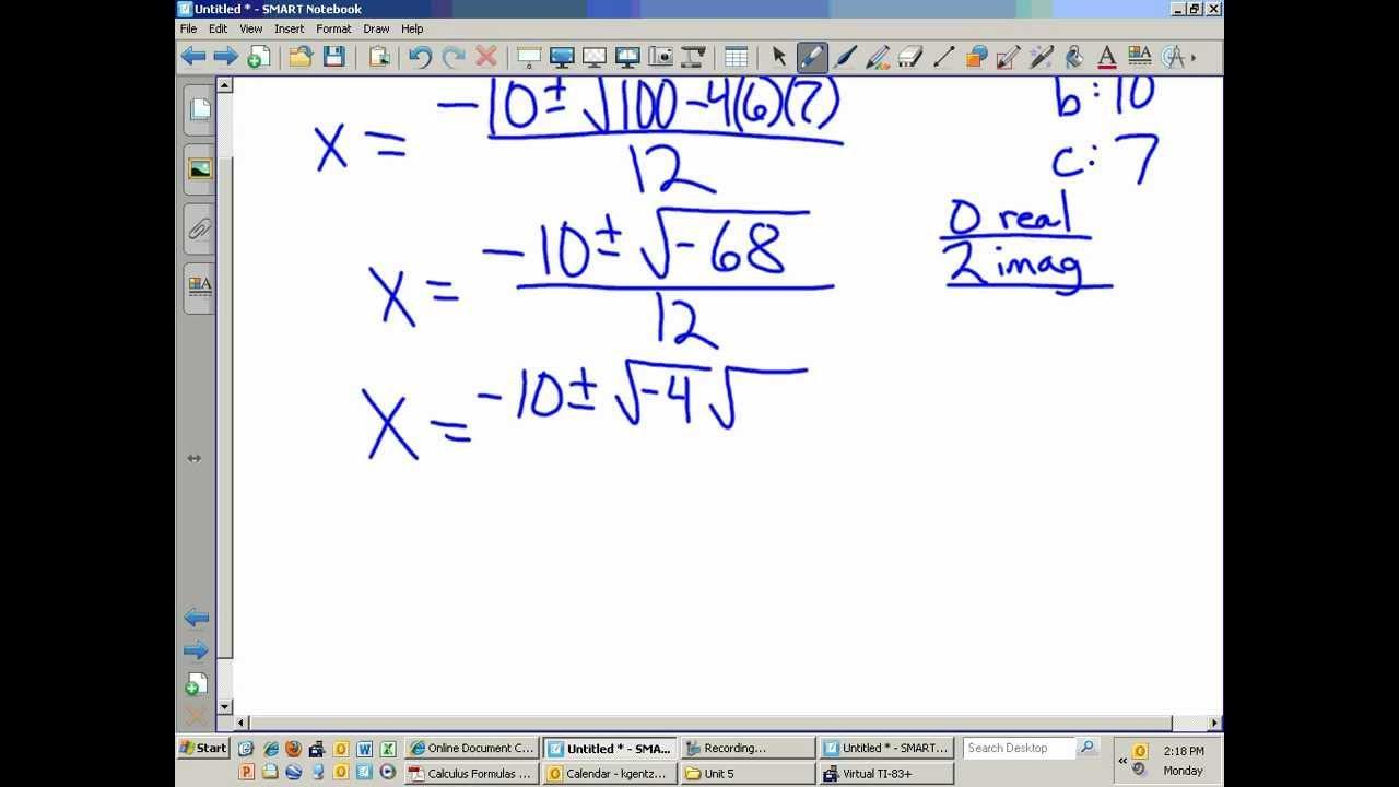 Algebra 2 Worksheets Quadratic Formula 1