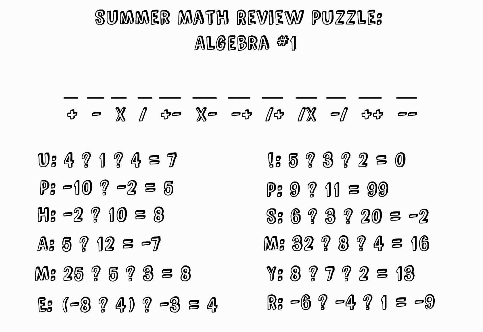 Algebra Math Worksheets Pdf