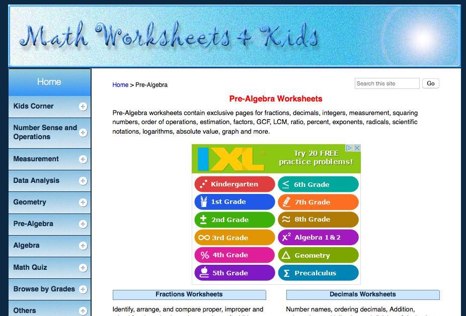 Algebra Printable Worksheets Grade 6