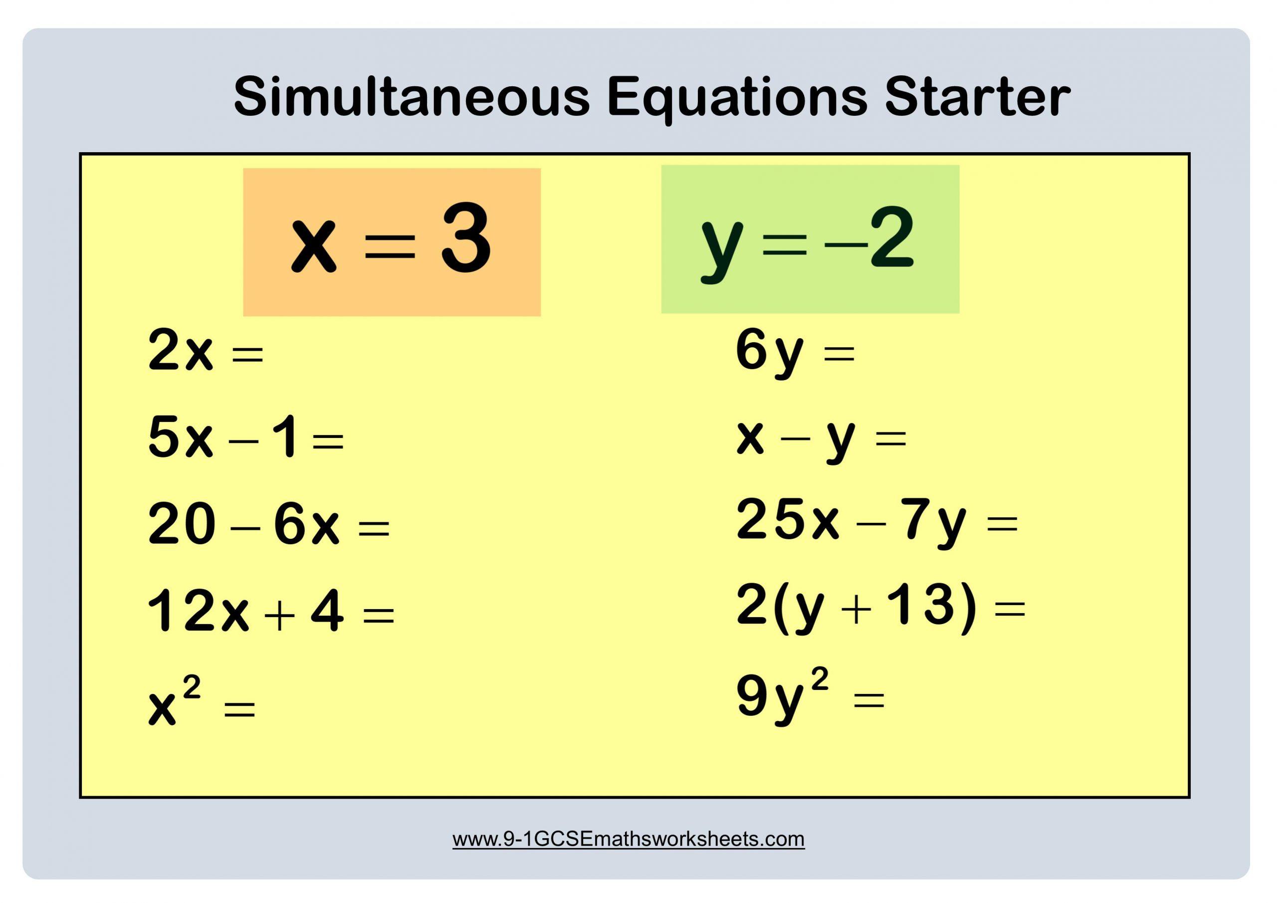 Algebra Substituting Values Worksheets 1