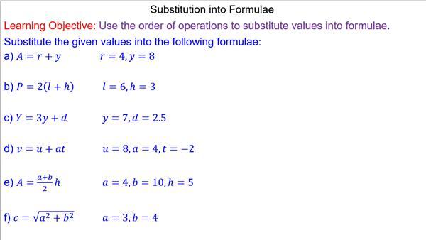 Algebra Substituting Values Worksheets 7