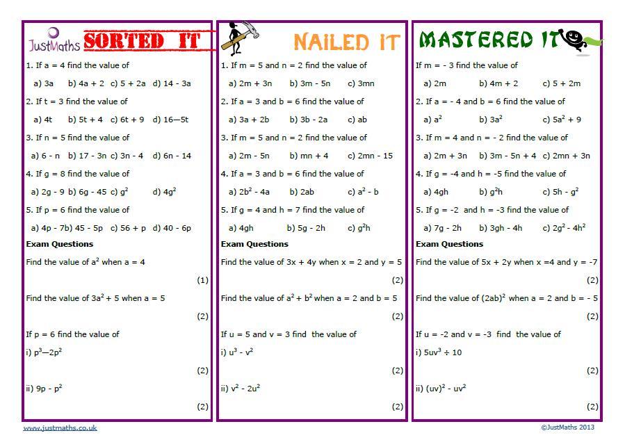 Algebra Substituting Values Worksheets 9