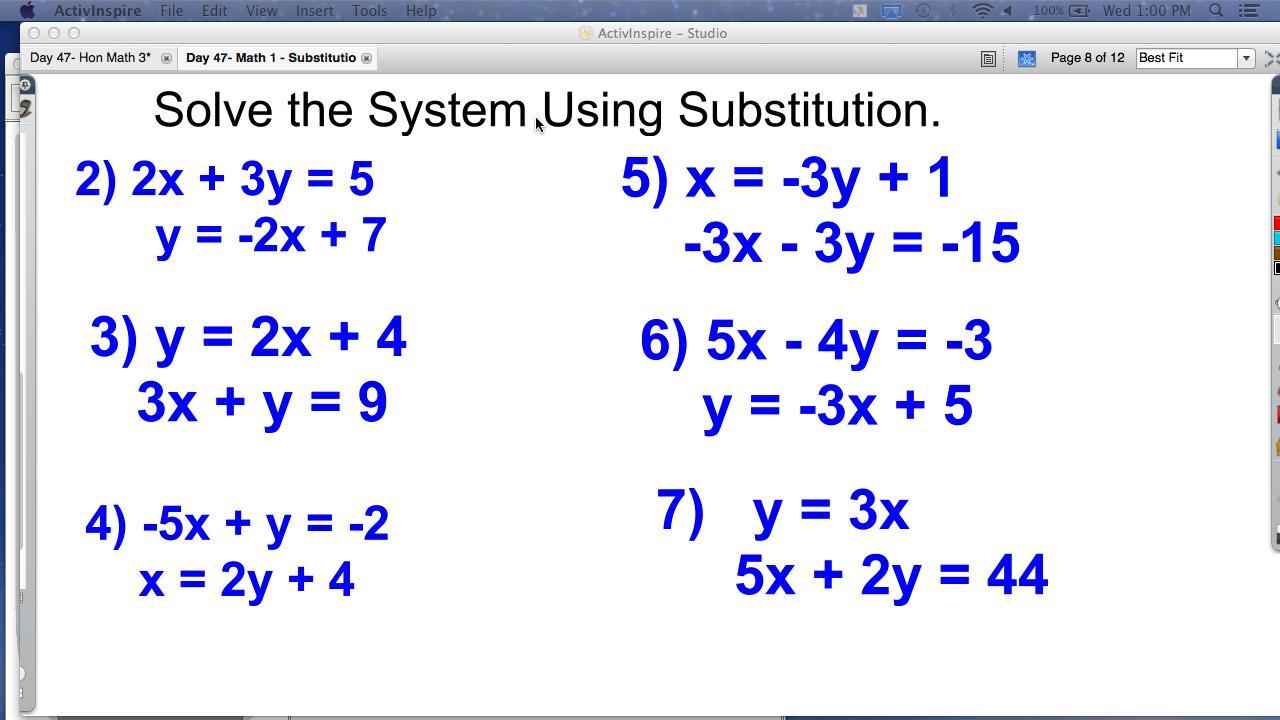 Algebra Substitution Worksheets Pdf
