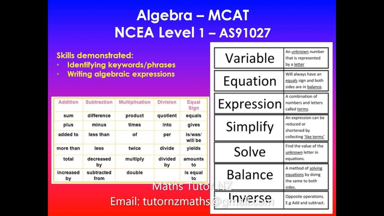 Algebra Worksheets Ncea Level 1 2