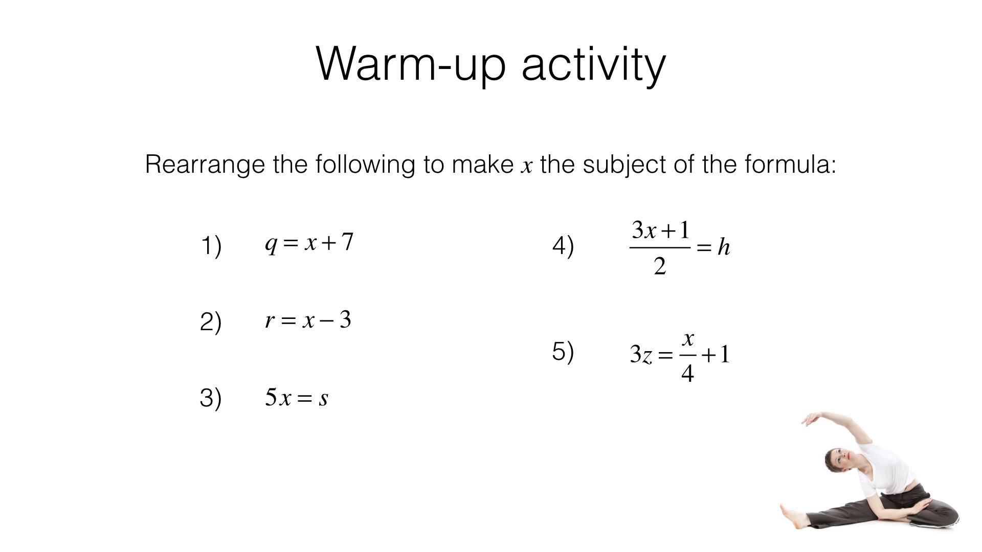 Algebra Worksheets Rearranging Equations 6