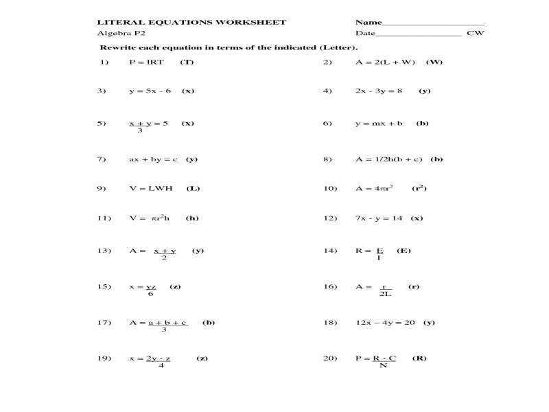 Free Algebra I Worksheets With Answers
