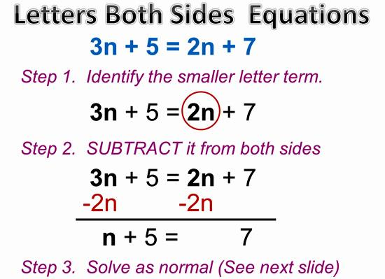 Math Worksheets Equations With Variables On Both Sides