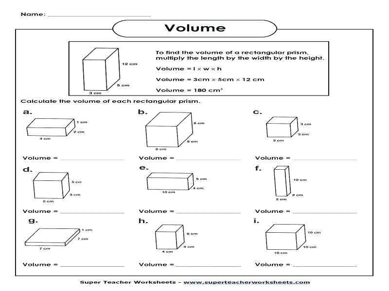 Pre Algebra Volume Worksheets 4