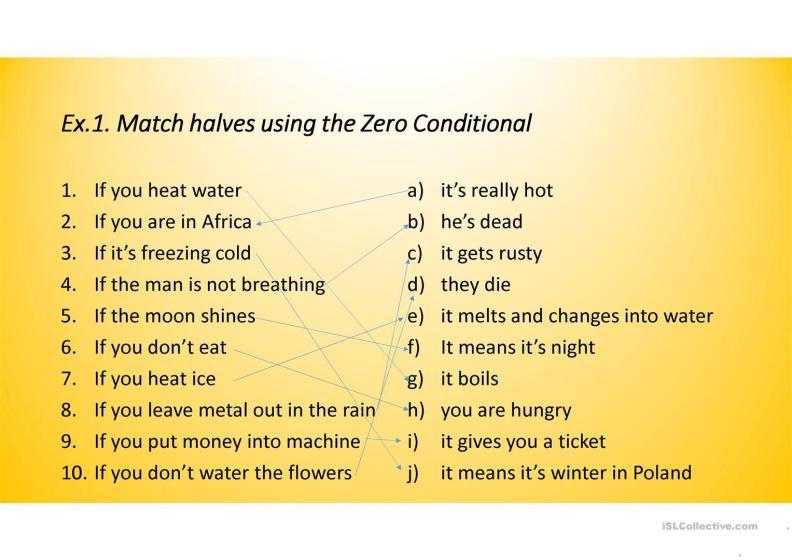 English Exercises Zero And First Conditional Sentences