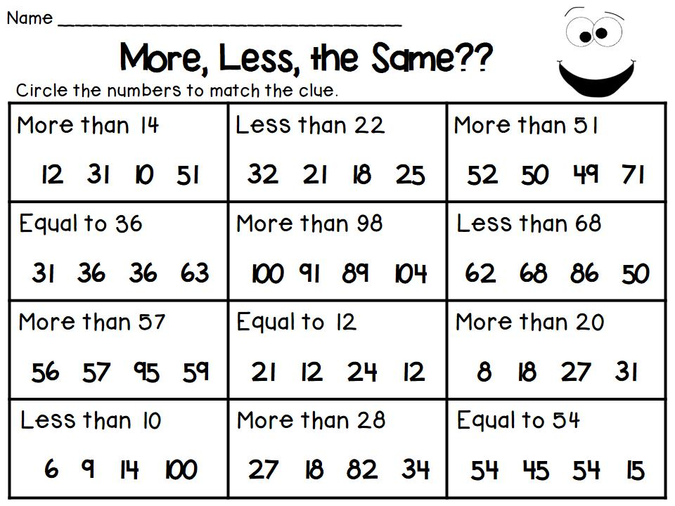 First Grade Greater Than Less Than Equal To Worksheets
