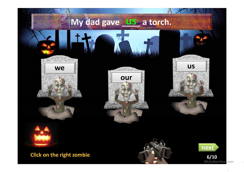 Zombie English Worksheets 4