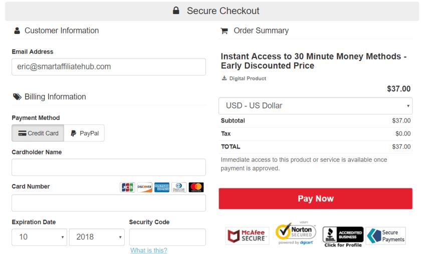 30 minute money method checkout