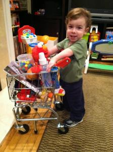 This is how Aleck really does use his cart, no walker required.