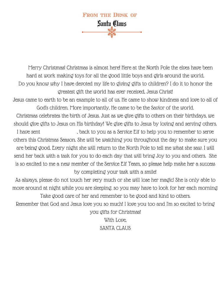 Free Printable Letter from Santa changing your Elf on the Shelf to a Service Elf