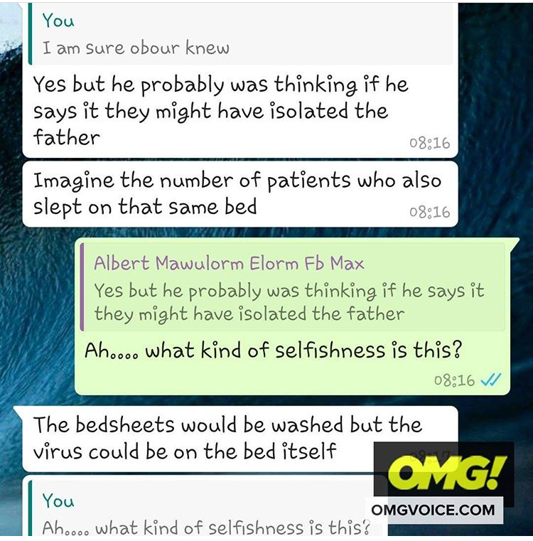 LEAK CHAT:A Nurse At Ridge Hospital Tells How Obour Made His Father To Infect Patients And Nurses With Coronavirus