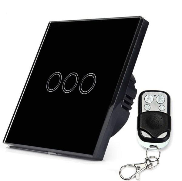 сензорен ключ три бутона с дистанционно черен цвят