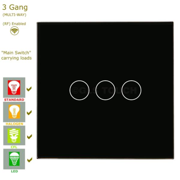 сензорен ключ 3 бутона черен