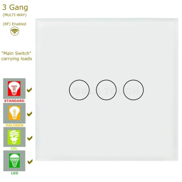 сензорен ключ 3 бутона бял
