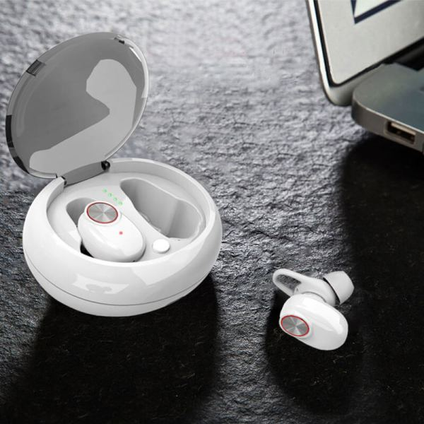 безжични bluetooth earplugs слушалки бели