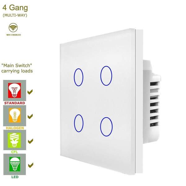WiFi сензорен ключ за лампи с четири бутона