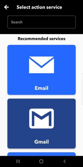 получаване на имейл от ifttt