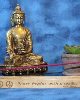 "Incense Holder Engraved with ""Peace Begins With A Smile"" By Mother Teresa"
