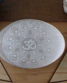 Selenite Palm Stones, Engraved