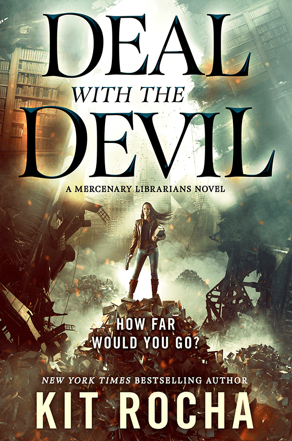 DEAL WITH THE DEVIL by Kit Rocha - a Mercenary Librarians Novel a woman with long brown hair and light brown skin standing atop a rubble pile of BOOKS holding two thick hardcovers and a massive gun her hair blowing to the side against a backdrop of destruction with libraries and shelves and falling buildings it's freaking incredible