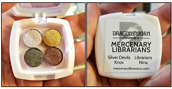 A quadrant of four eyeshadow colors in gold brown dark green and pale cream on one side, and the back of the palette on the other side which reads Mercenary Librarians Silver Devil, Knox, Librarians, Nina