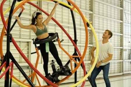 Tammy rides the gyroscope