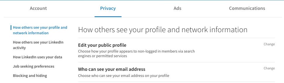 sekretess inställning LinkedIn profil