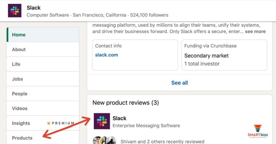 slack produktsida LinkedIn