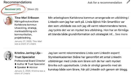 rekommendationer linkedin