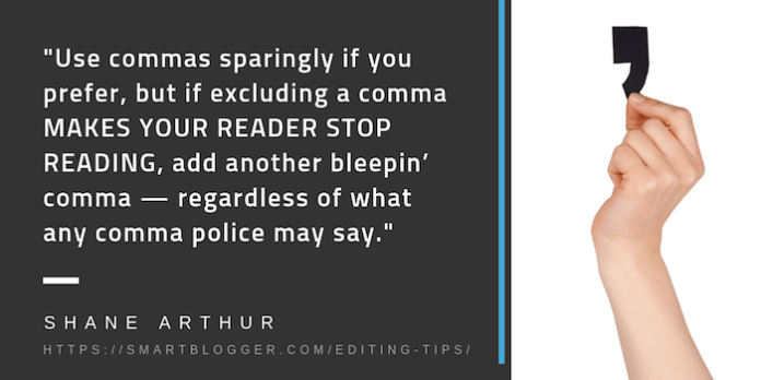 Editing tips for commas