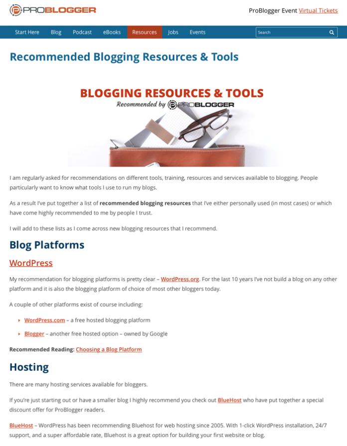 Problogger blogging resources