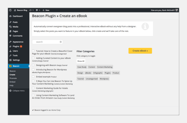 WordPress - Beacon Plugin
