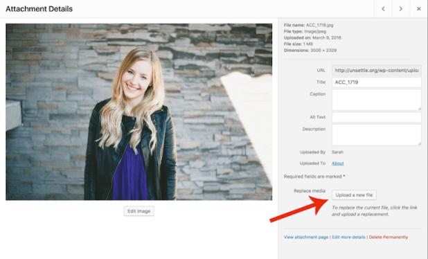 WordPress - Enable Media Replace Plugin