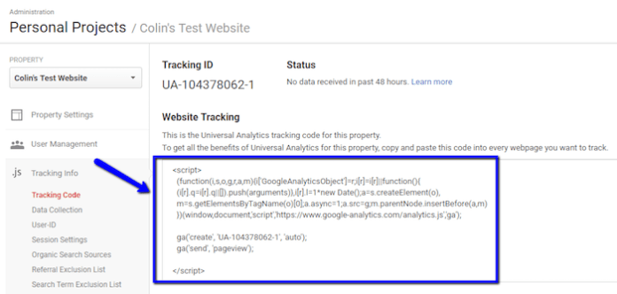 Google Analytics Web Tracking Box