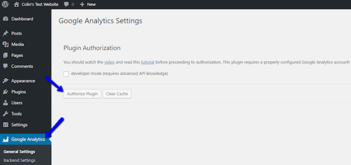 Authorize Google Analytics Plugin
