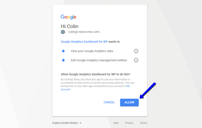 Allow Google Analytics Plugin Access