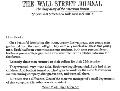 The Wall Street Journal sales letter