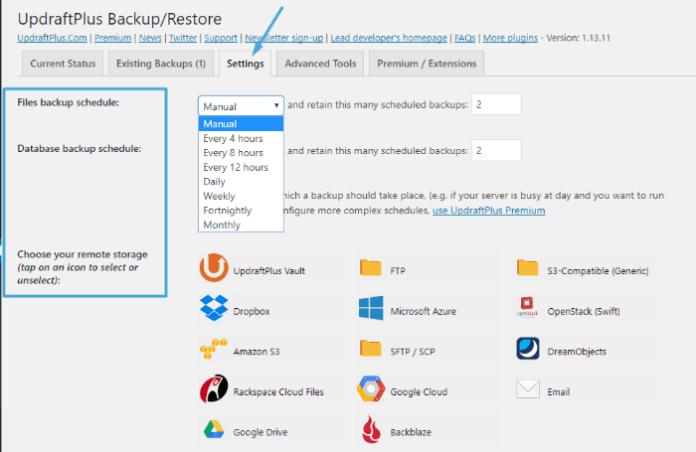 UpdraftPlus - set up backups