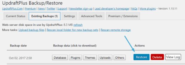 UpdraftPlus - one click restore