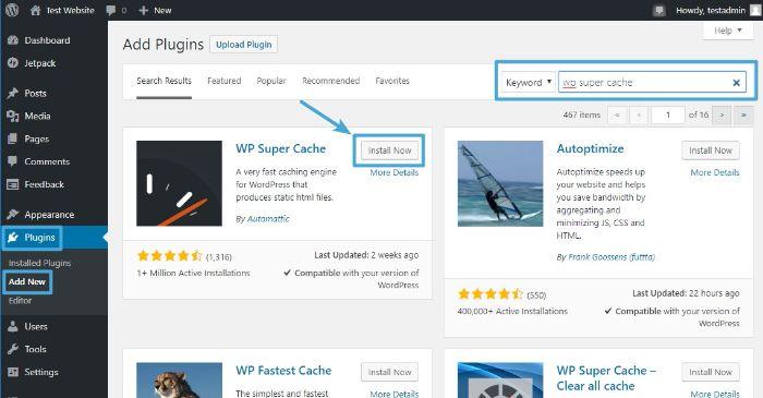 Search and Install WordPress WP Super Cache plugin