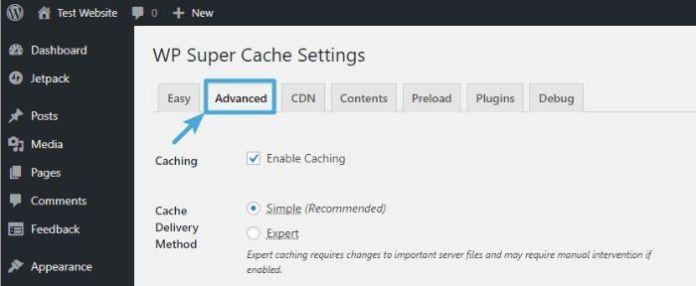 Configure advanced settings - WordPress WP Super Cache