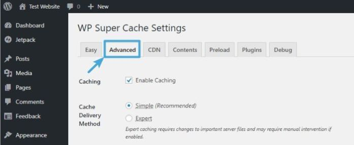Configure advanced settings - WordPress WP Super Cache