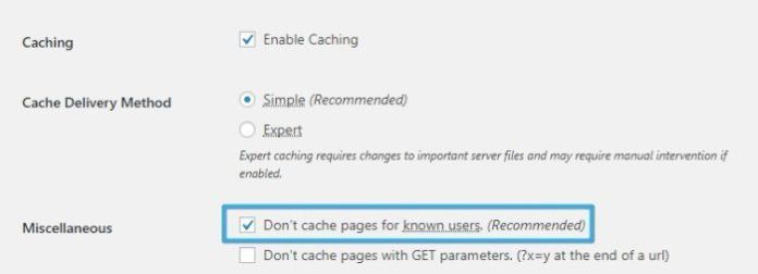 Don't cache pages for known users