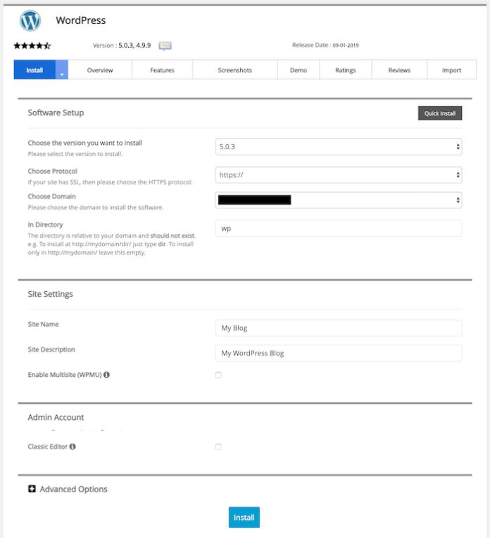 Softaculous WordPress Form